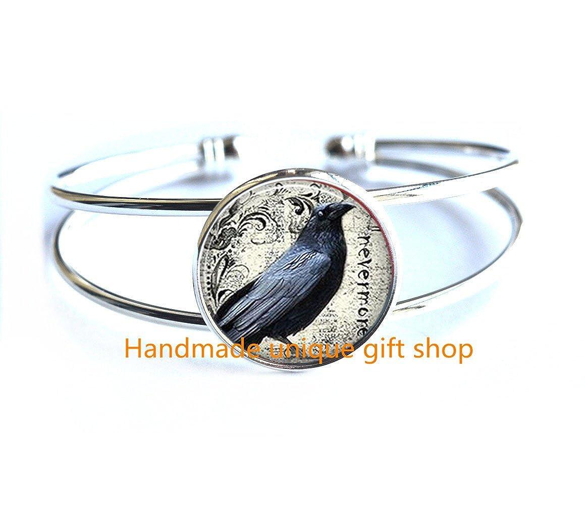 Delicate Bracelet,Poes Raven Bracelet raven Bracelet Poe Nevermore Goth jewelry literary Bracelet raven jewellery-RC026 Dainty Bracelet