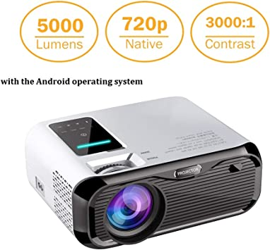 Projector Mini LED Video Projector Home Theater Supporting 1080P Compatible with HDMI/USB/TF Card/VGA/AV and Smartphone (E500-Android System)
