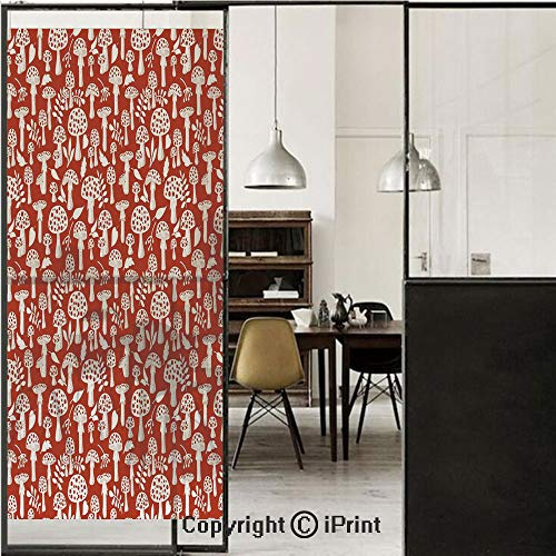 Mushroom 3D Decorative Film Privacy Window Film No Glue,Frosted Film Decorative,Cute Amanita Pattern with Leaves Berries Poisonous Plants Cartoon Style Decorative,for Home&Office,23.6x59Inch Burnt Sie