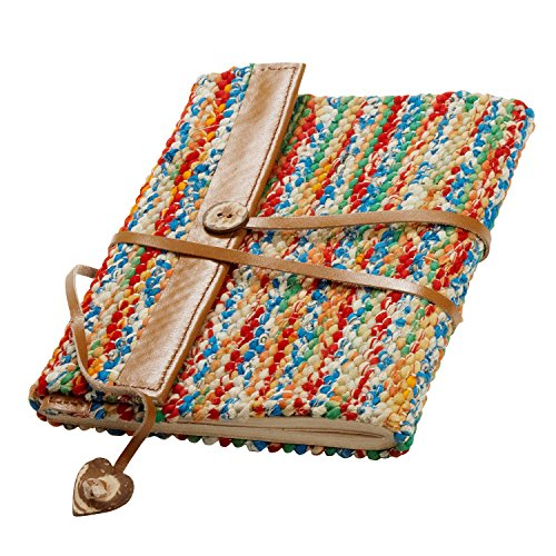 Blank Journal With Woven Recycled Cloth Cover 'Sari & Leather Travel Journal'