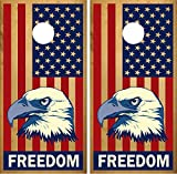 ''Freedom'' American Flag Eagle LAMINATED Cornhole Board Decal Wrap Wraps