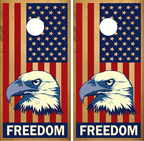 ''Freedom'' American Flag Eagle LAMINATED Cornhole Board Decal Wrap Wraps by Miller Graphics