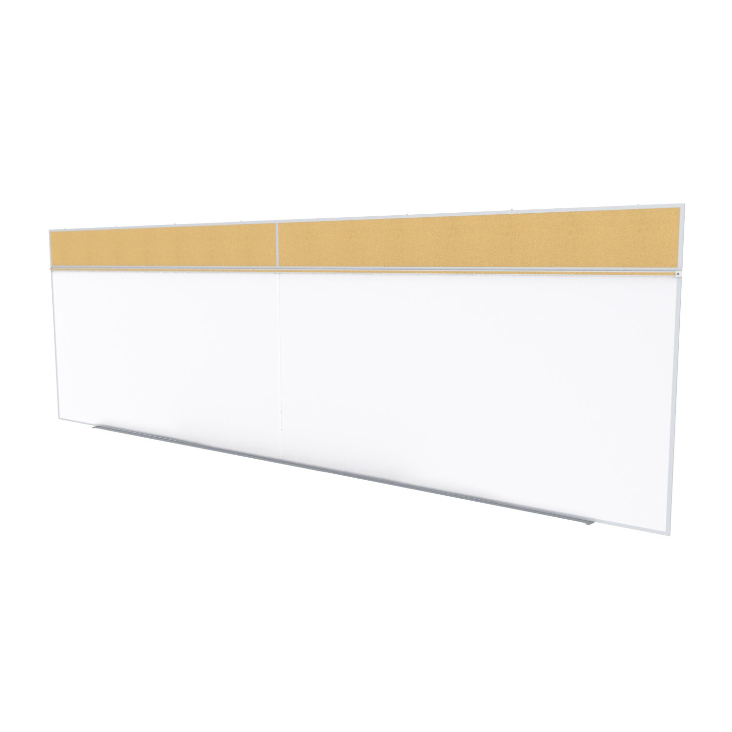 Ghent 5 x 16 Feet Combination Board, Porcelain Magnetic Whiteboard and Natural Cork Bulletin Board , Made in the USA