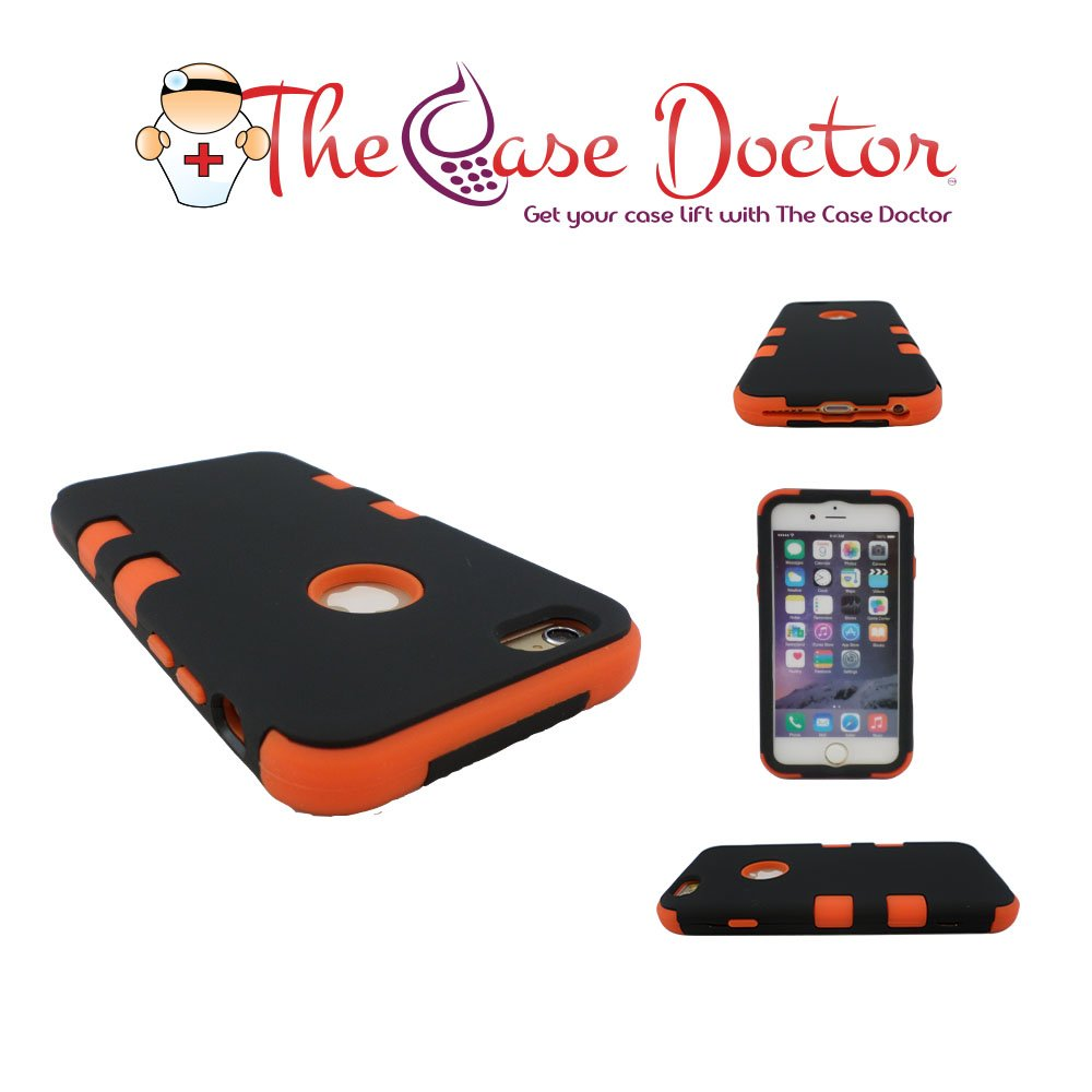 TCD for Apple iPhone 6 6S [4 7 Inch Device ONLY] Hybrid Case [Black and  Orange] Rhino Armor Defender Series Multi Layer [Hard/Soft Combo] Case  Cover