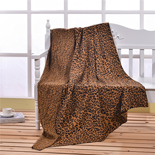"""ZHIMIAN 100% Cotton Knitted Leopard Jacquard Blanket 51""""X71"""" Soft&Breathable (Coffee)"""