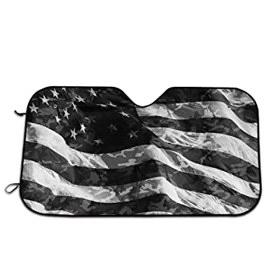 Camo American Flag Windshield Sun Shade -Luxurious Sunshield for Maximum UV and Sun Protection -Foldable Sunshade for Car Windshield Will Keep Your Car Cooler-Windshield Sunshades: Garden & Outdoor