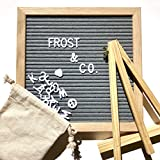 SALE Changeable Letter Board, Stand, Wall Hook, Canvas Letter Bag, 340 Letters, Numbers & Symbols, Gray Symphony Felt, Oak Wooden Frame, Message Board Sign 10 x 10, By Frost & Co.