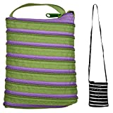 JOE COOL Shoulder Bag All Zipper Large (Green with Purple Zip) Made with Polyester by