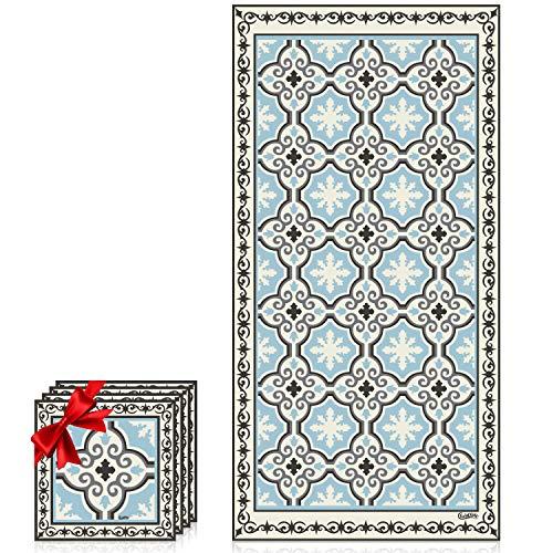 Camoone Non Slip Kitchen Mat – (Toscana Garden) Retro Blue & Stone White Decorative Vinyl Mat, Hypoallergenic, Insulated, Non-Fading, Easy to Clean, Non-Toxic Floor Mat+4 Free Coasters,47.2x23.6x0.0
