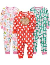 Girls' 3-Pack Snug Fit Footless Cotton Pajamas