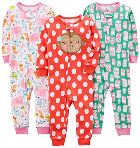 Simple Joys by Carter's Girls' Toddler 3-Pack Snug Fit Footless Cotton Pajamas, Owl/Monkey/Animals, (Cotton Kids Pajamas)