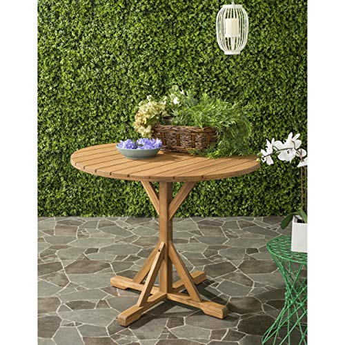 Safavieh PAT6735A Outdoor Collection Arcata Round Table, Natural
