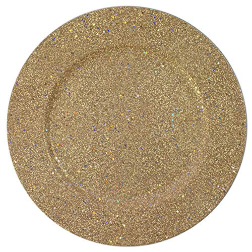 - Glitter & Stars Gold Round Charger Plate