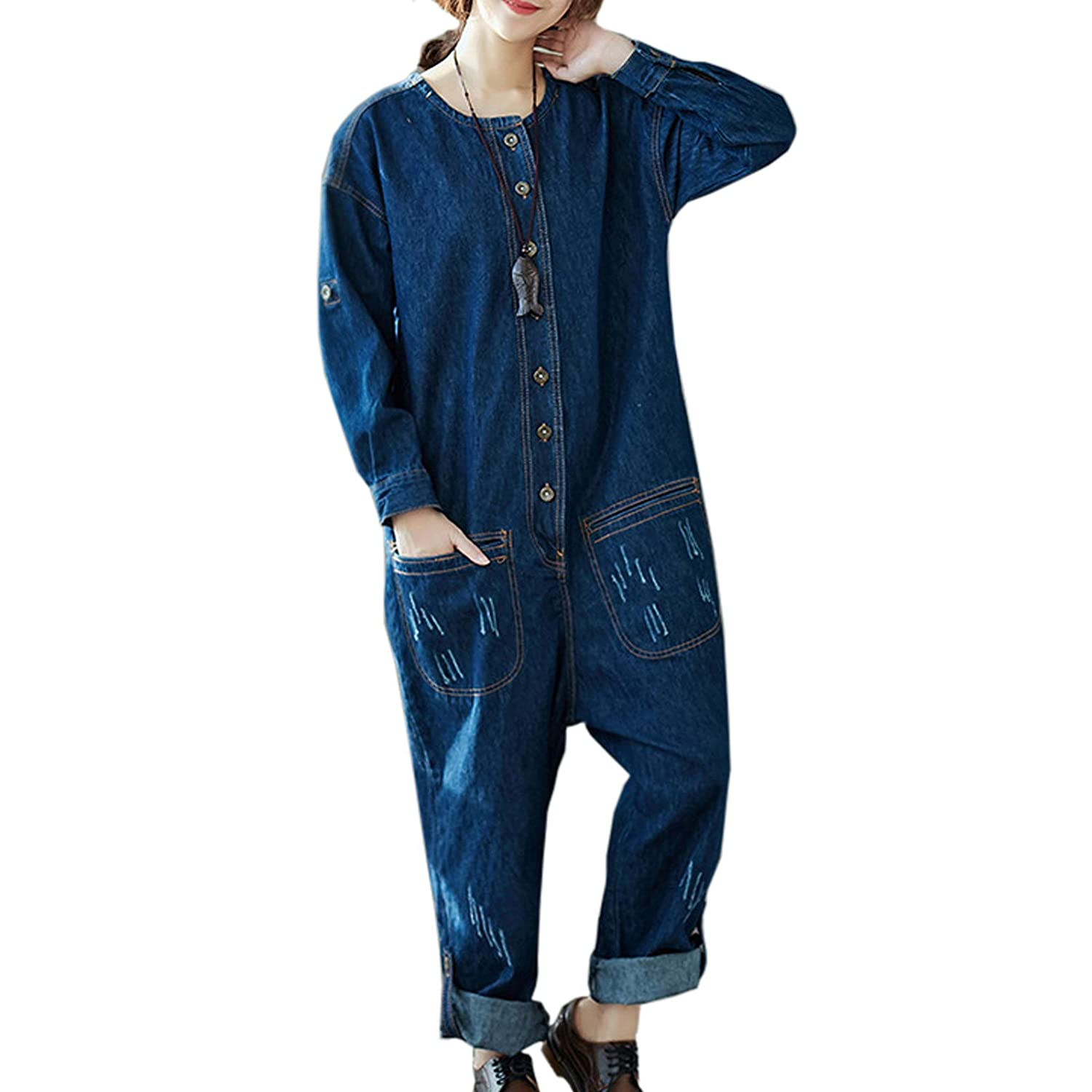 497e07cb6464 Flygo wowens one piece long sleeve denim jean jumpsuits rompers long  overalls one size us blue
