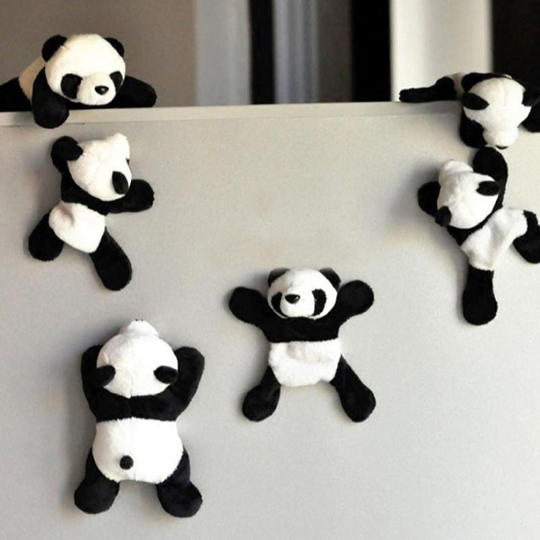 Fridge Magnets, 6 Pack Cute Plush Panda Refrigerator Magnet Sticker Decor
