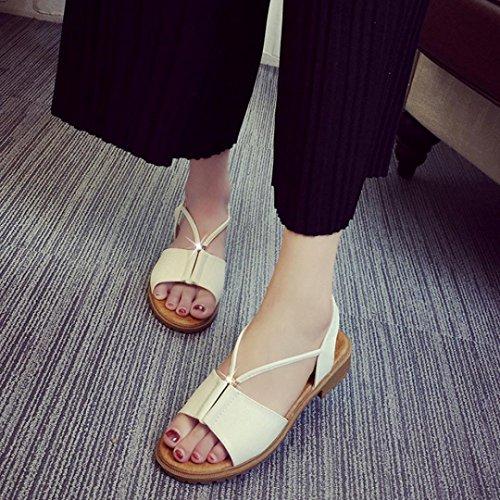 Elevin (tm) Femmes Été Mode Extérieur Peep-toe Bohème Sandales Plates Chaussures De Plage Blanc