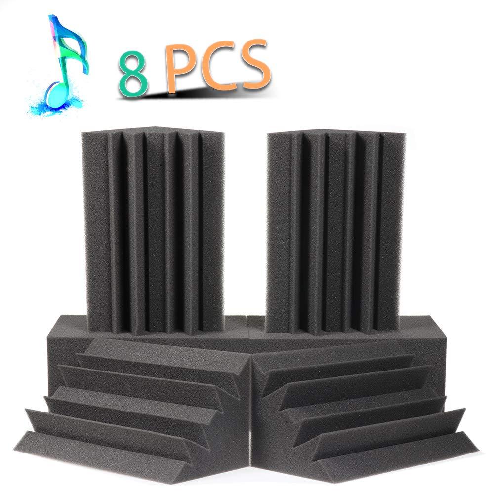 Acoustic Panels Bass Trap Studio Corner Wall Studio Foam Sound Proof Panels Nosie Dampening Foam 8 Pack-8.3''4.7''4.7''