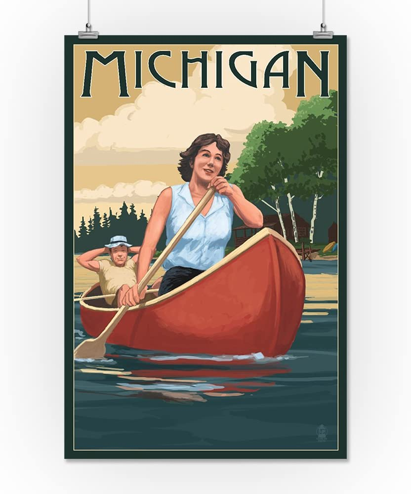 Michigan Canoers on Lake 12x18 Aluminum Wall Sign, Wall Decor Ready to Hang