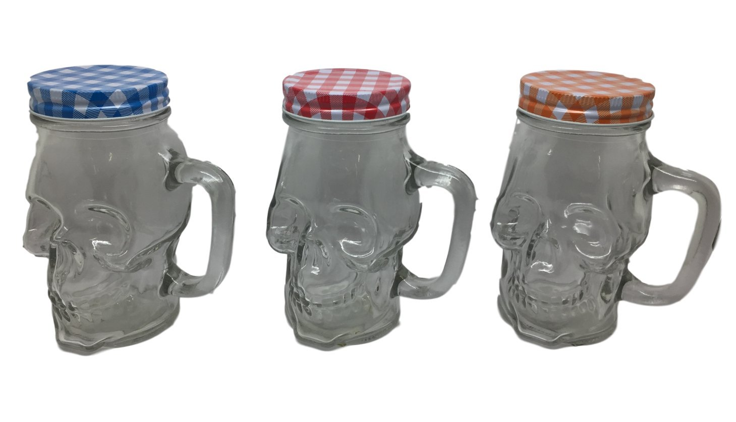 Ducomi teschiobar – Set of 4 Glasses Skull Shape Transparent Glass with Handle and Coloured Caps – 400 ml