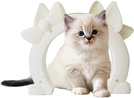 WTTTTW Puerta de Gato para Puertas Interiores, Kitty Pass con Gatos en Forma de Portal Mascota