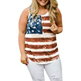0570cdbe83555b Vanvler Women Women American Flag Loose 4th Of July Sleeveless T-shirt Tops  Blouse Plus