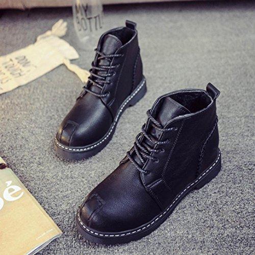 MML Woman Ankle Boots Lace-Up Low Heels Autumn Boot Four Seasons Shoes Black fxm40u