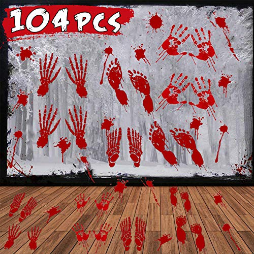 Easy Scary Halloween Decorations (104 Pieces Halloween Decoration Stickers, Scary Bloody Handprint & Footprint Window Decals Floor Wall Stickers for Indoor Decor Horror Bathroom Haunted House Vampire Zombie Party Decorations)