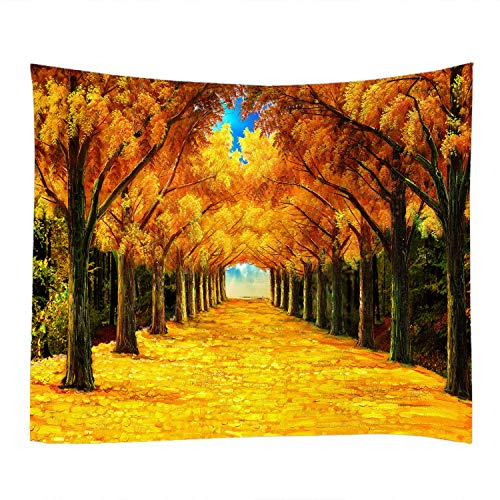 79x59 Inches Oil Painting Autumn Yellow Leaves Print Decorative Throw Fabric Tapestry Wall Hanging Art Decor for Living Room and Bedroom