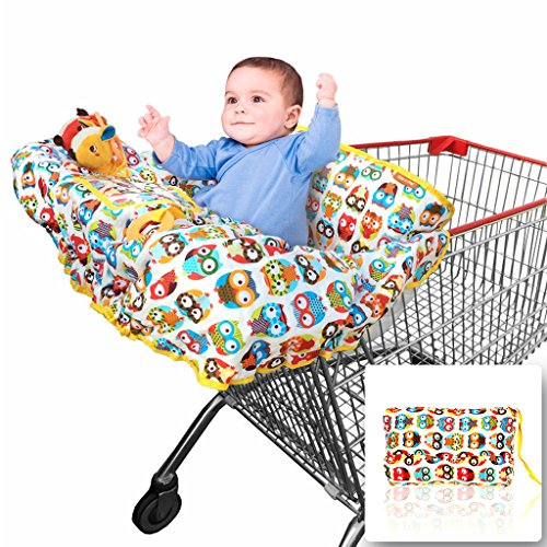 2-in-1 Shopping Cart Cover | High Chair Cover for Baby | Large (Owl Pillow Target)