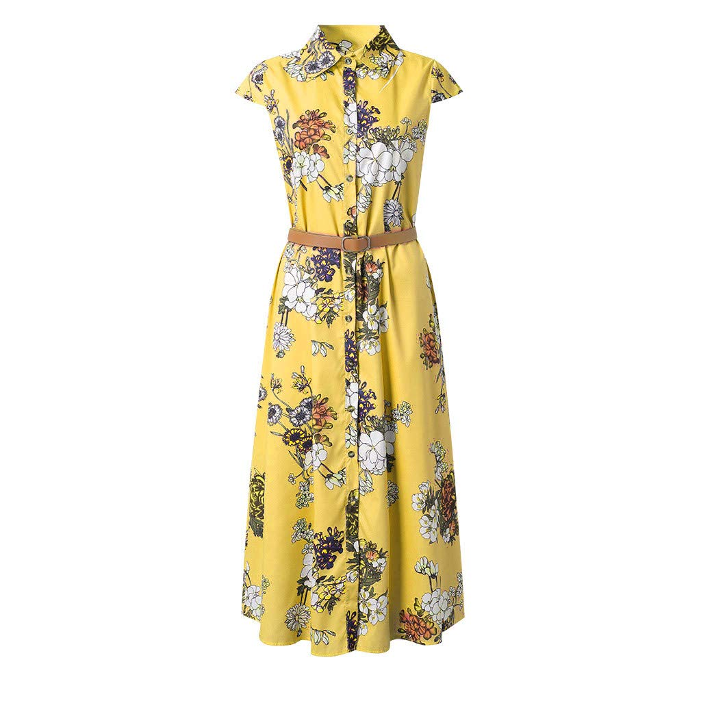 Women Summer Casual Style Feminino Vestido T-Shirt Casual Plus Size Loose Ladies Dress Women's V-Neck Short Sleeved Vintage Printing Beach Dress Belt (L, Yellow) by succeedtop Women