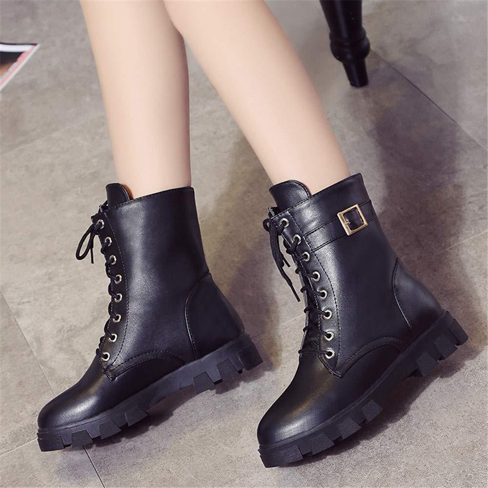 Eeayyygch High Heels Kurze Stiefel Stiefel Stiefel Martin Stiefel mit dicken britischen Sohlen (Farbe   39, Größe   Schwarz) f68e3e
