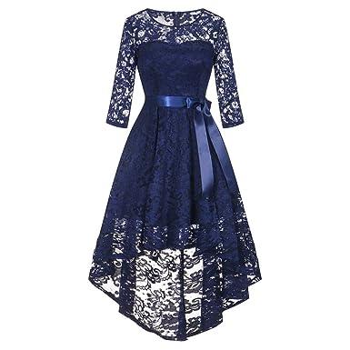 Damen Kleider Sommer Elegant Kleid Knielang Festlich Hochzeit Partykleid  Rockabilly Vintage Cocktailkleid Sommerkleid Lose Langes Dress  Amazon.de   ... c4d61ccd17