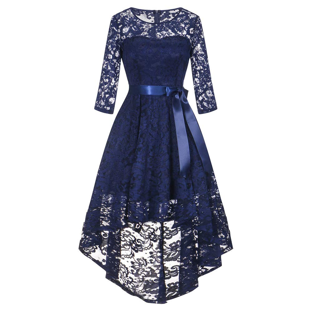 OWMEOT Womens Lace Cocktail Dress Elegant Floral Sleeveless Swing High Low Formal Prom Dress (Blue, L)