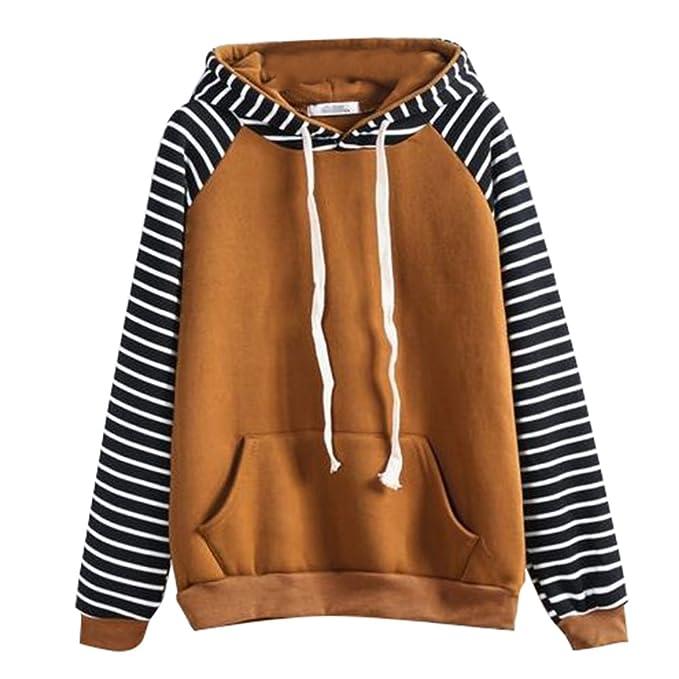 Hibote Sudaderas Capucha Mujer Blusas Otoño Abrigos Lana Camisetas Rayas Sudaderas Cálidas Tops Manga Larga Moda
