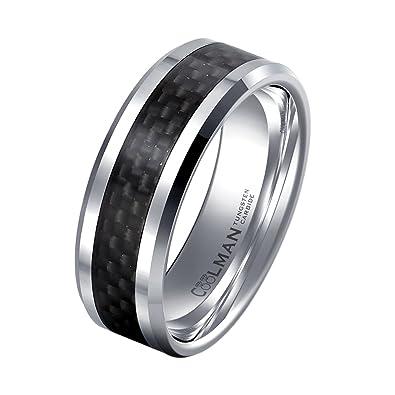2c3755c5b0ba74 COOLMAN Tungsten Wedding Rings for Men Black Carbon Fiber Inlaid Men's Rings  8MM Comfort Fit Ring