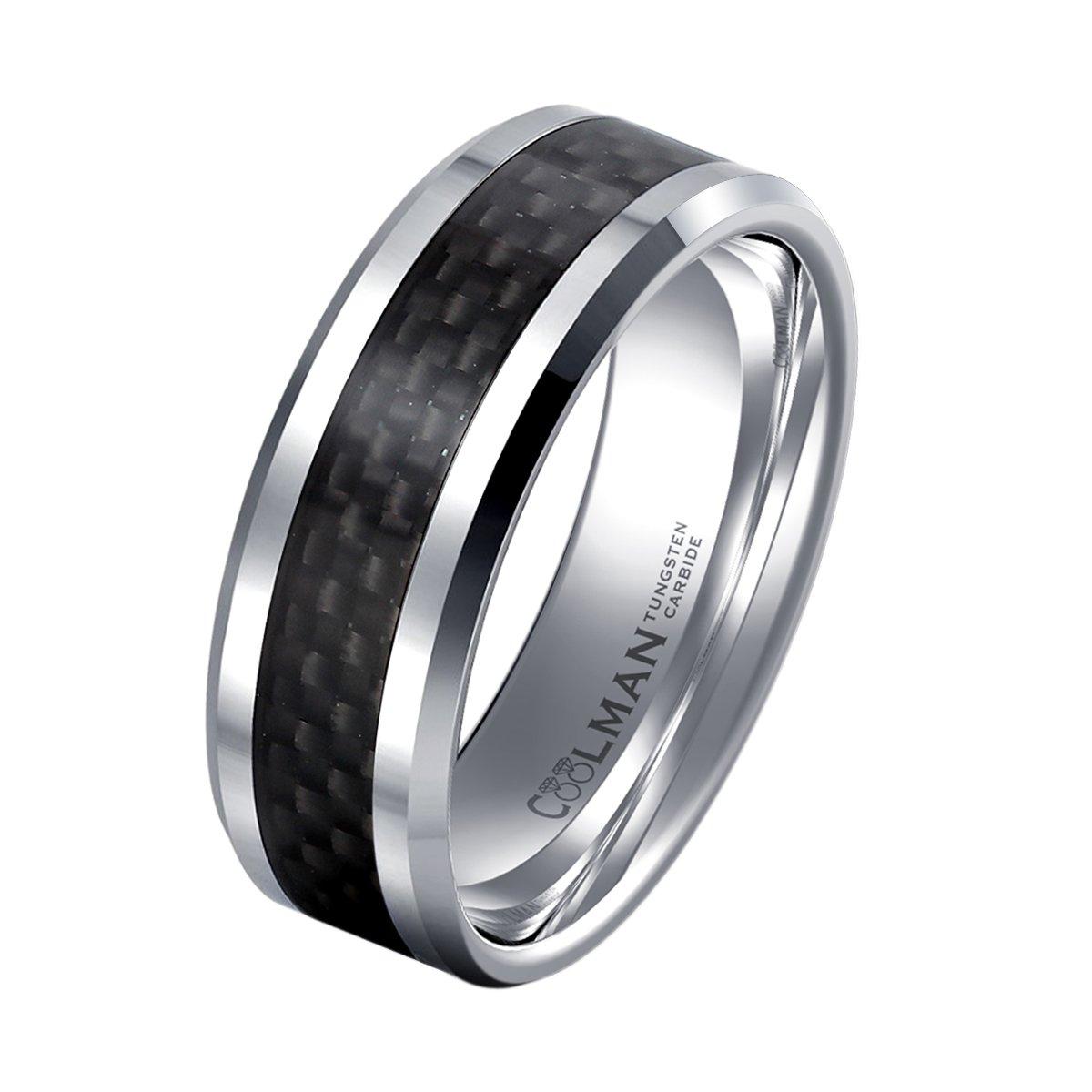 COOLMAN Tungsten Wedding Rings for Men Black Carbon Fiber Inlaid Men's Rings 8MM Comfort Fit Ring