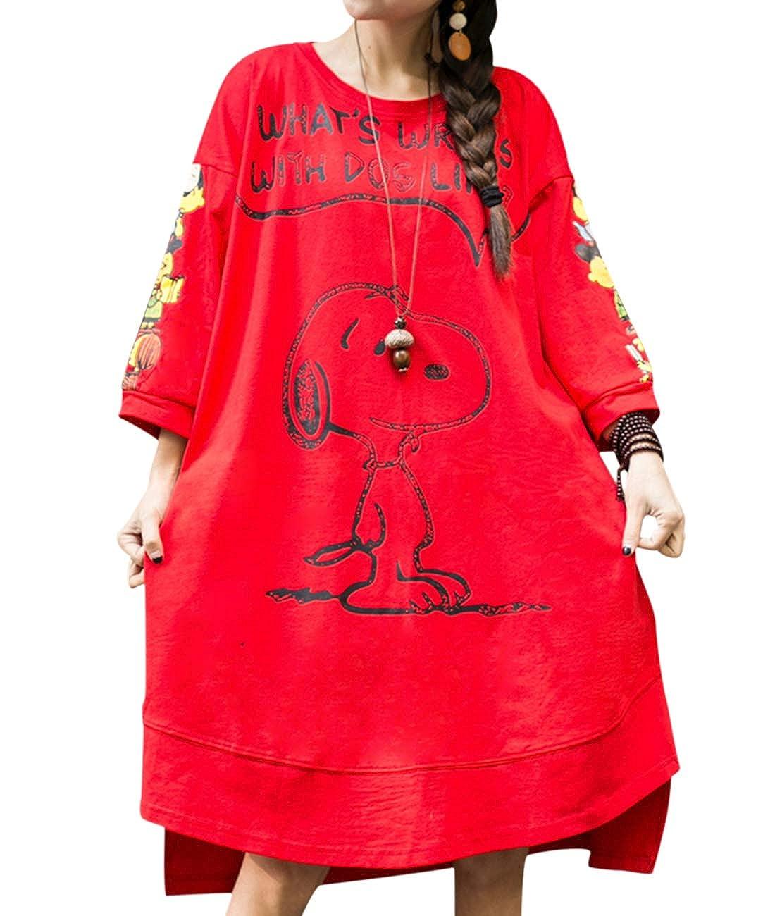5e4e624e3749 YESNO Women Casual Loose Tunic Dress Cute Snoopy Print 3/4 Sleeve T-Shirts  w/Pockets F26 (M, Red) at Amazon Women's Clothing store: