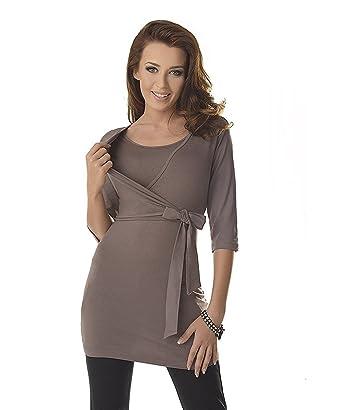 Dressing Maternity Haut Femme Enceinte - Top Grossesse Et Allaitement  Ceinture Nouée Cappuccino  Amazon.fr  Vêtements et accessoires 59636bdfe50