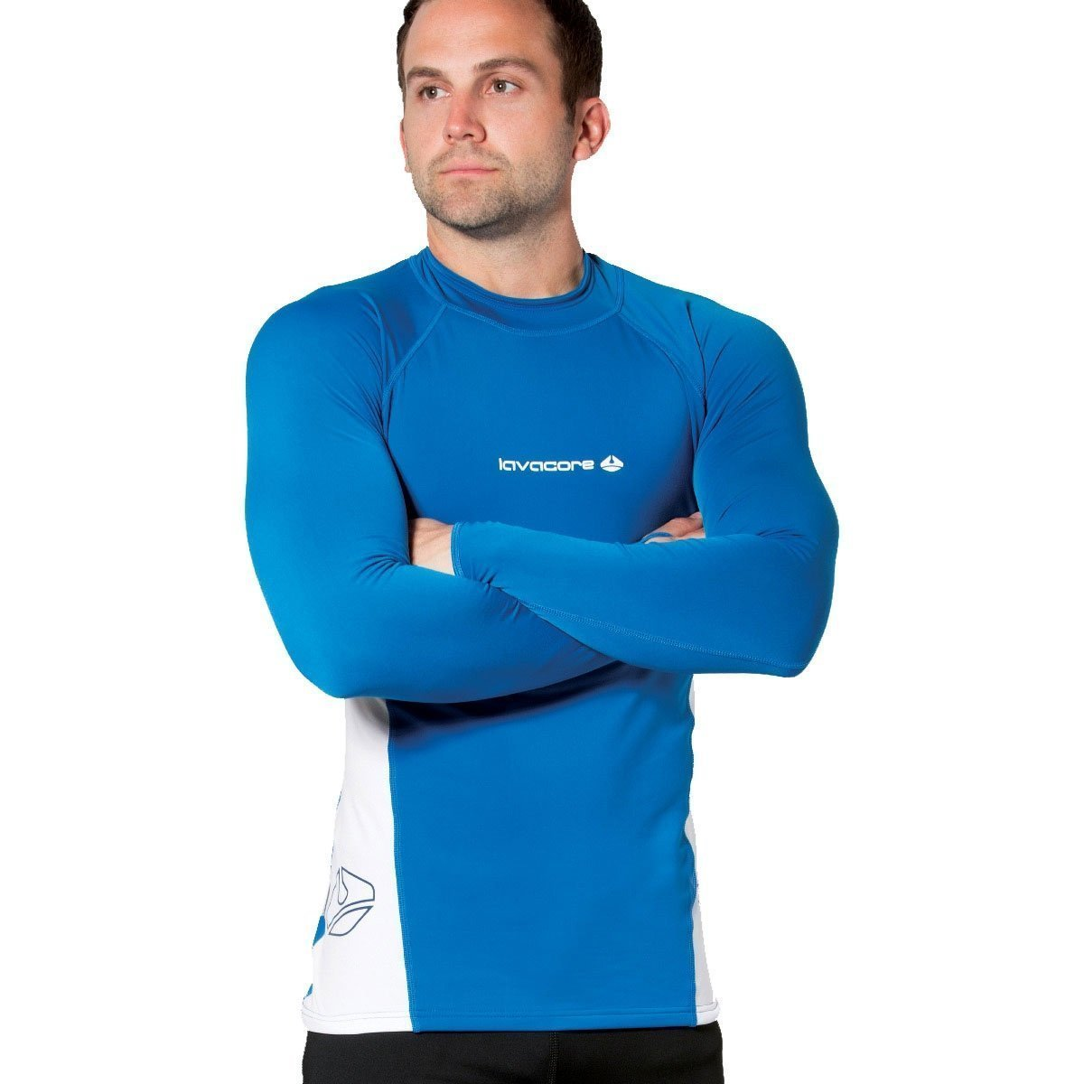 New Men's LavaCore Long Sleeve LavaSkin Shirt - Blue/White (Large) for Scuba Diving, Surfing, Kayaking, Rafting, Paddling & Many Other WaterSports by Lavacore