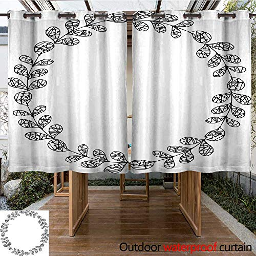 Outdoor Curtains for Patio Sheer Hand Drawn Vector Oval Decorative Frame Leaves and Floral Elements W96 x L72