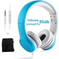 Kids Headphones Volume Limiting Yusonic Ear Foldable Small Kid Headphones Toddlers headsets for School Boys Girls Children ipad Compatible (Light Blue)