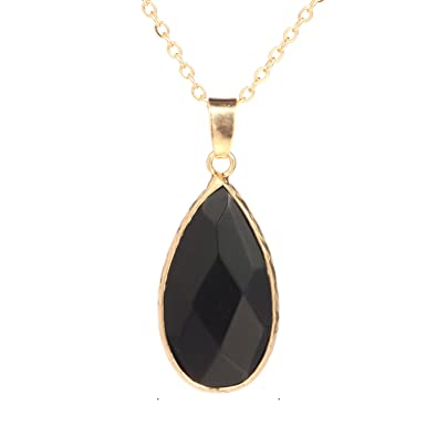 Amazon bonnie crystal wrap color natural stone pendant necklace bonnie crystal wrap color natural stone pendant necklace gold chain gift for girls black aloadofball Image collections