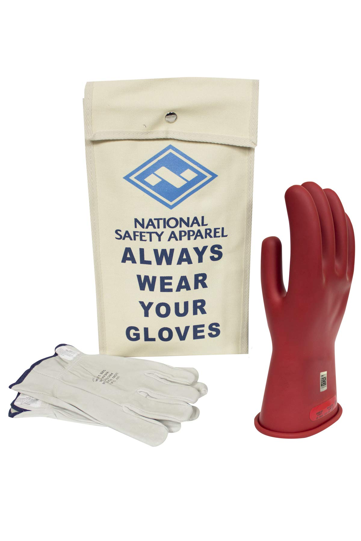 National Safety Apparel Class 0 Red Rubber Voltage Insulating Glove Kit with Leather Protectors, Max. Use Voltage 1,000V AC/ 1,500V DC (KITGC010R)
