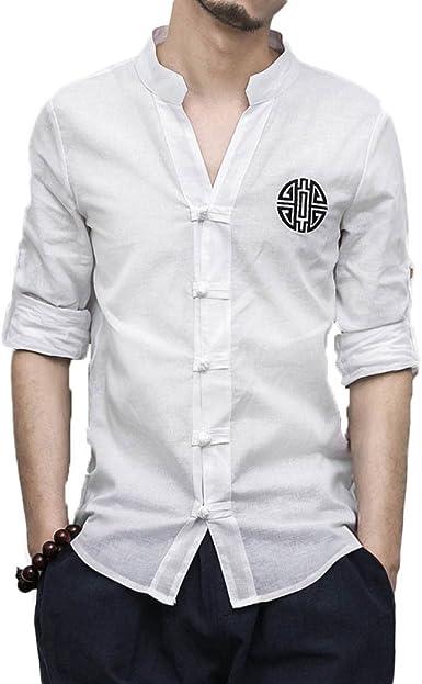 Camisa De Hombre Camisa De Lino Bordada Camisa De Cuello Alto Camisa Delgada De Manga Larga, White-M: Amazon.es: Ropa y accesorios