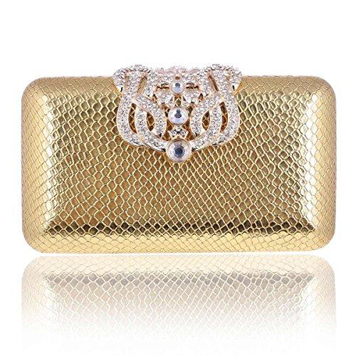 Lady Bag Decorative Rhinestone Event Clutch Damara Gold Minaudiere AqwYAf