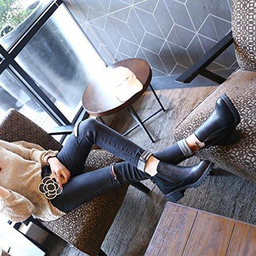 Botas bajos o Goodsatar Invierno Nuevo Oto Botas Tacones zapatos Moda Mujeres Botines Negro invierno qUBq0