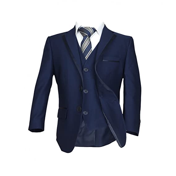 Boys Dark Navy Piping Suit Kids Blue Wedding Suits Children Black