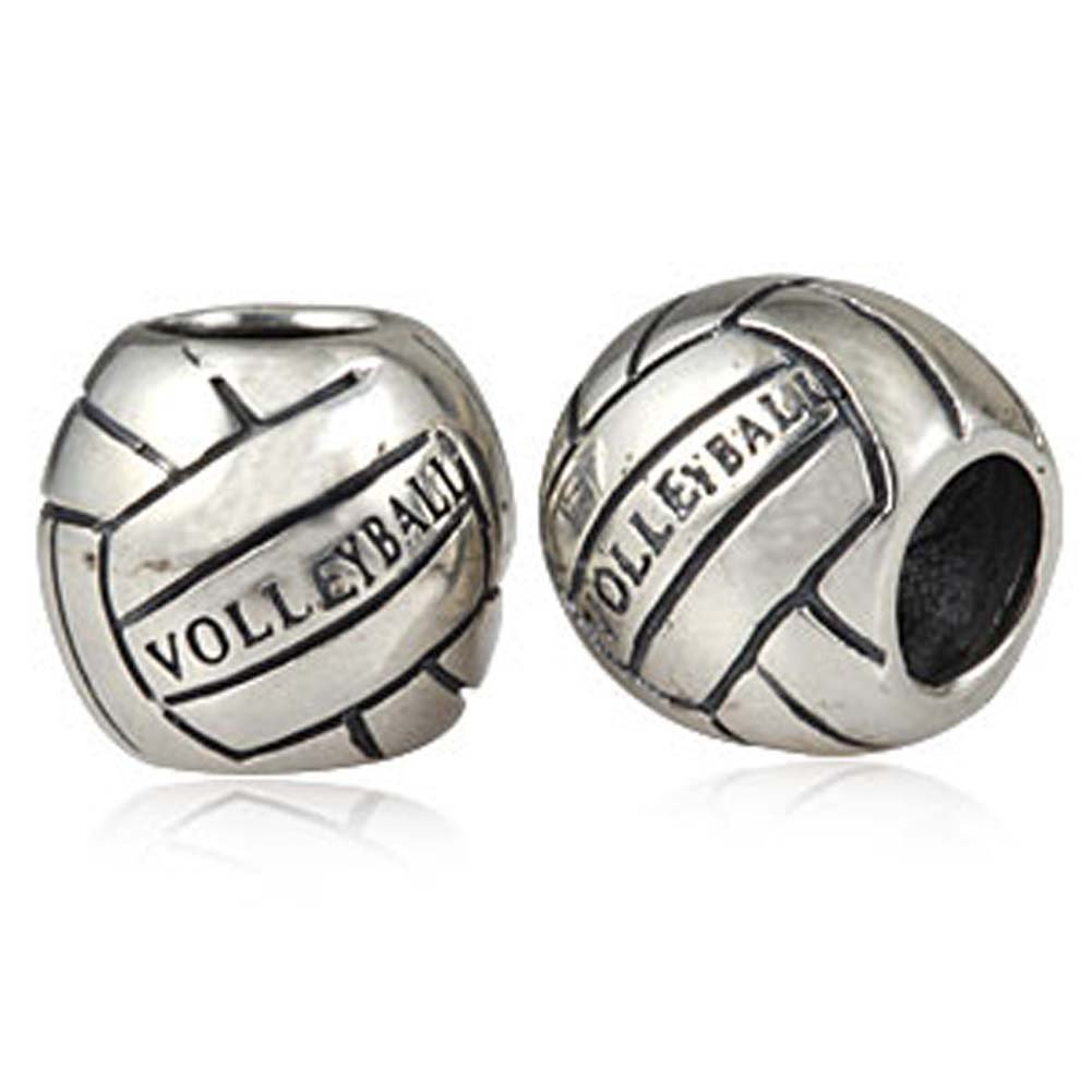 Basketball Charm 925 Sterling Silver Sport Beach Ball Beads For