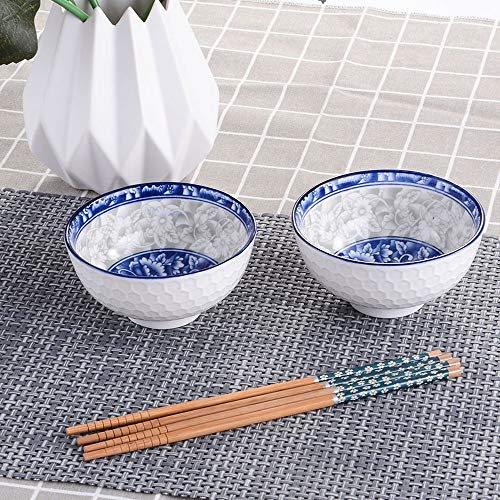 Asian Ceramic Rice/Soup Bowls and Chopsticks Set of 2, Chinese White and Blue Porcelain Rice Bowls with Delicate Box for Rice Soup and Oatmeal(2)