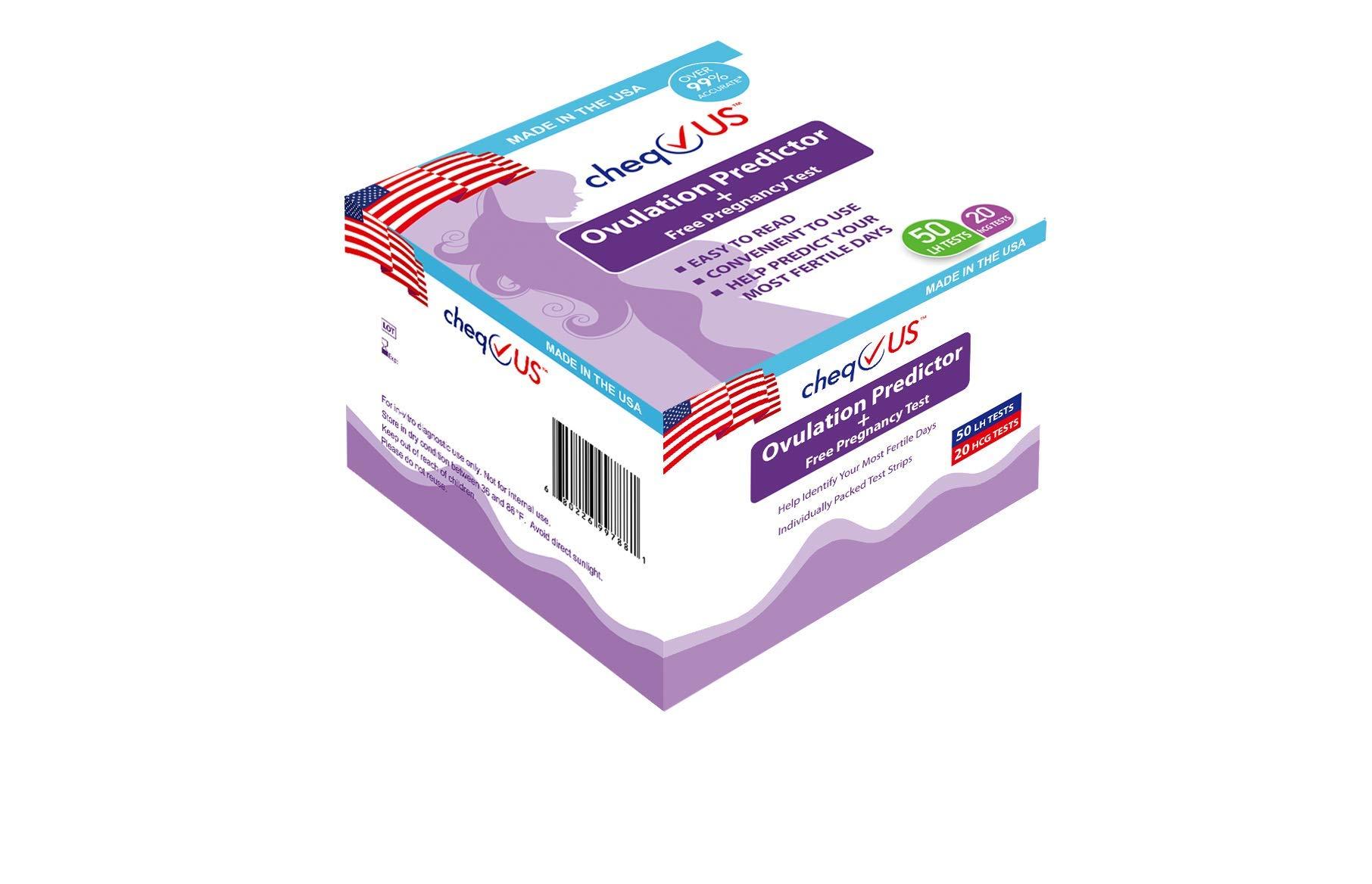 CheqUS Combo Pack 50 Piece Lh Ovulation Predictor Urine Test Strip and 20 Piece Pregnancy Urine Test Strip, 70 Count by cheqUS